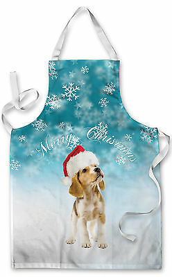 Splashproof Novelty Apron Merry Christmas Puppy Cooking Painting Art Kitchen BBQ