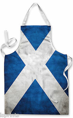Splashproof Novelty Apron Scotland Grunge Flag Cooking Painting Art Kitchen BBQ