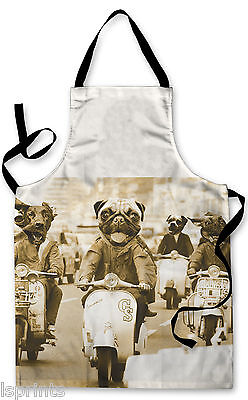 Splashproof Novelty Apron Dogs on Scooters 2 Cooking Painting Art Kitchen BBQ