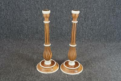 """Set Of 2 Wood And Ceramic Candle Holders 12"""" Tall Vintage"""