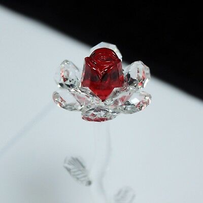 Beautiful 140 mm Crystal Glass Stem Red Rose Flower - Gift Boxed