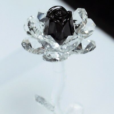 Beautiful 140 mm Crystal Glass Stem Black Rose Flower - Gift Boxed