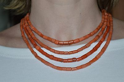 BIG SALE !!! Antique VICTORIAN ORIGINAL Natural red coral Necklace undyed salmon