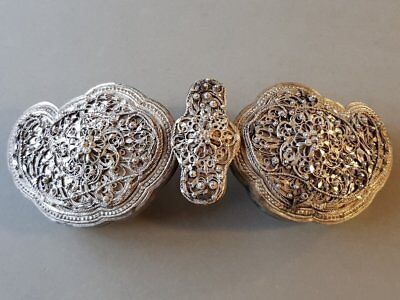 GORGEOUS RARE ANTIQUE Oriental jewelry belt buckle hand-knitted SILVER filigree