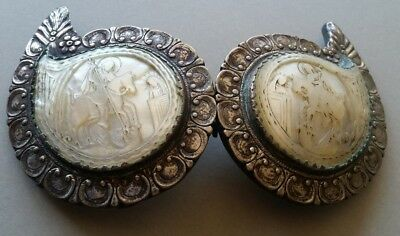 ANTIQUE religious St.George Ottoman era silver alloy belt buckle Mother of Pearl