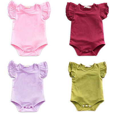 Toddler Baby Girl Ruffle Flutter Sleeve Romper Bodysuit Newborn Clothes Outfit