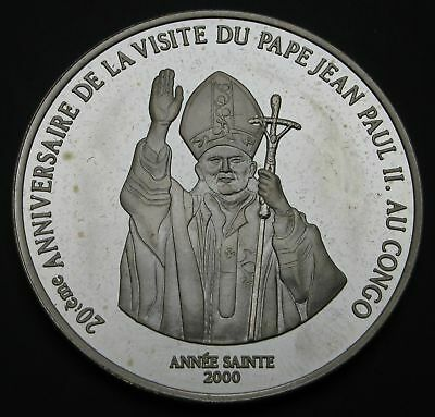 CONGO DEMOCRATIC REPUBLIC 10 Francs 2000 Proof - Silver - John Paul II - 2717