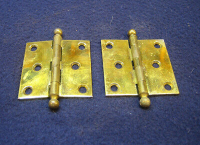 "Pair Antique Victorian 2"" Brass Ball Finial Tip Cabinet Hinges"