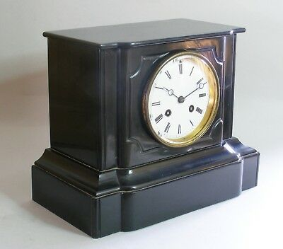 French 8 day Mantel Clock Stone Case 19th Century Gaillot Paris Working