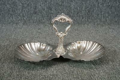 "11.5"" Long Divided Serving Tray With Center Handle Silver Plated Sea Shell"