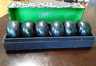 Vintage Lot of 6 Hand Carved Wood Napkin Rings from Grand Hyatt Bali with Box