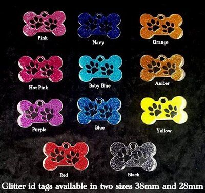 Pet ID Tag  LARGE 38mm Small  28mm Reflective Glitter Dog Bone Tags, ENGRAVED