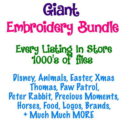 Giant Bulk Embroidery Files Bundle -  70+ folders - 1000's of Pes Files- Custom