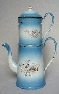 Rare Antique Vintage French Enamel Biggin Coffee Pot ~ Violets & Forget Me Nots