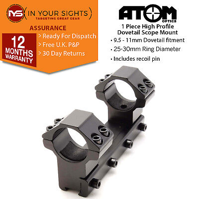 One piece rifle scope mount /1inch,25mm or 30mm High profile rings fit 9.5-11mm