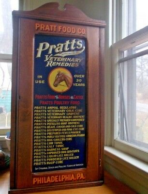 "1890s ORIGINAL PRATTS VETERINARY REMEDIES 32""DRUG STORE DISPLAY WOOD CABINET"