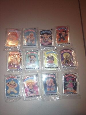 Complete 1986 Set of (12) Series 1 GARBAGE PAIL KIDS Pin-Back Buttons SEALED
