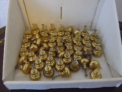 Brass Drawer Pulls Handle Knobs Lot 1-Inch Wide Screws Included w/Each #HVINTG
