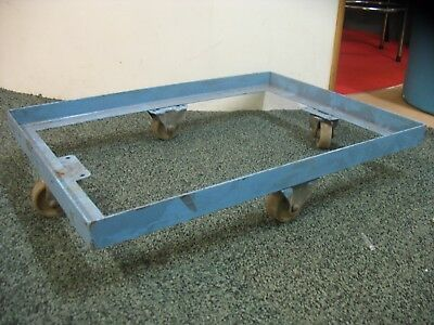 "METAL DOLLY RECTANGULAR HEAVY DUTY CASTOR SKATE FRAME DRUM TROLLEY 26"" x 18 USED"