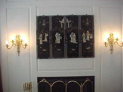 """Wall Sconces Antique 4 Light Brass Rewired 19"""" High 19"""" Wide (Lot Of 2)"""