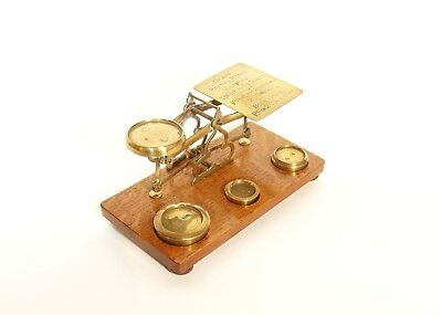 Beautiful C. 1880 Brass & Oak British Postal Scale With Original Weights
