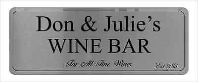 Aluminium Personalised Wine Bar Sign For Home Pub Or BBQ Make Great Gift