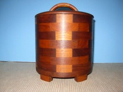 Teak Walnut Artisan Wood Lidded Container Catchall Vtg Mid Century Danish Modern