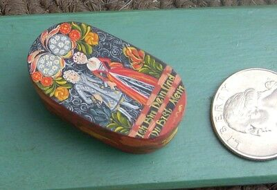 fabulous miniature hand painted band box by M.O'Brien 1979