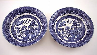 Royal Wessex Blue Willow Cereal Soup Bowls Blue Willow Vintage TWO