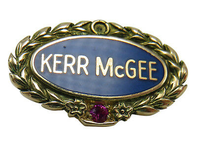 Kerr McGee 14K Gold Ruby Tie Tac Service Pin 5 Year Gas Oil Collectible 270h