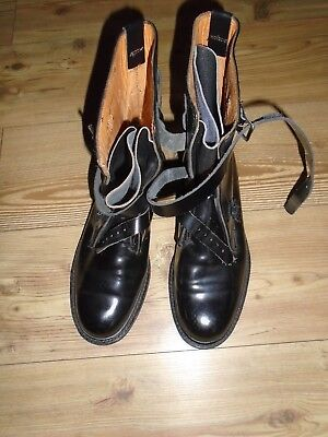 Flying Boots Black Leather Size 43 Leather Straps
