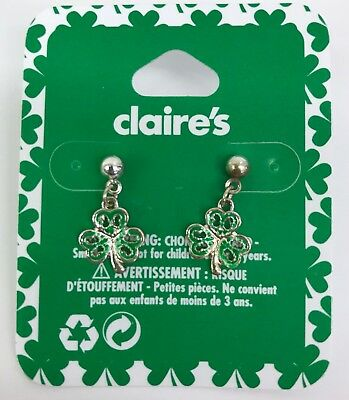 Claire's St Patricks Day Earrings Small Filagree Shamrock Dangle from Post