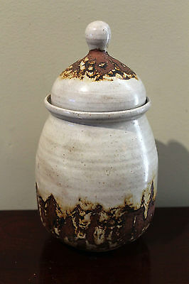 """LIDDED POTTERY JAR Container Signed """"Marks"""", 7.5"""" Tall, in Perfect Condition"""