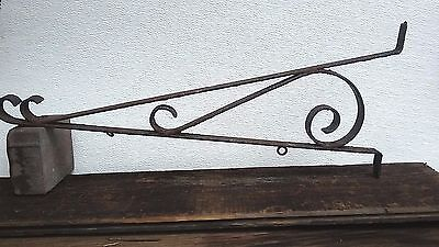 Vintage Large Oil & Gas Heavy Duty Wrought Iron  Hanging Sign Holder