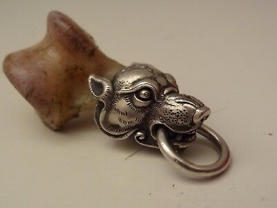 Genuine Mongolian Wolf Ankle Bone With Silver Wolf Head Figure Pendant Key Chain