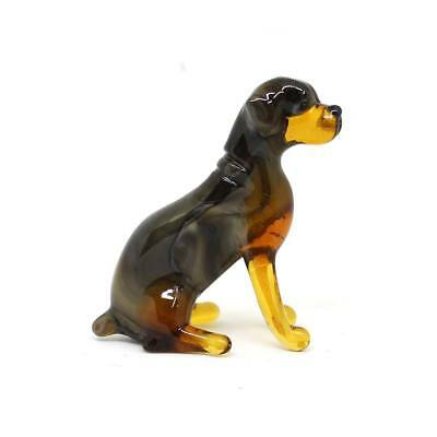 Middle blown glass figurine Dog - Rottweiler seated Russian Murano #154