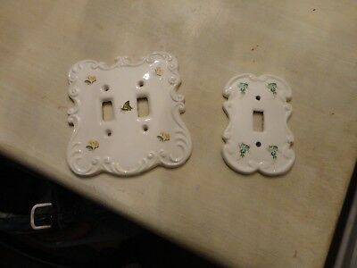 Vintage PAIR Porcelain Floral Design Single Light Switch Plate Covers
