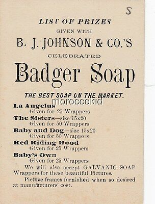 """VICTORIAN TRADE CARD B.J. JOHNSON & Co. BADGER SOAP LIST OF PRIZES CARD # """"S"""""""