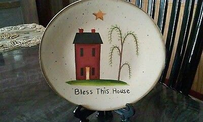 Country Primitive Bless This House Decorative Plate - NEW!