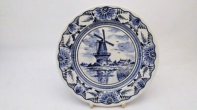 """Hand Painted Delft Holland Blue Blauw & White Windmill & House Scene 7"""" Plate"""