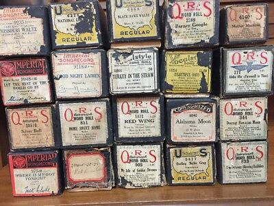 20 Vintage PLAYER PIANO ROLLS March Ballad Waltz - most in Fair/Good Condition