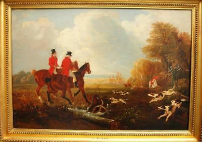 Large Fine 19th Century FOX HUNT AT FULL CRY Antique Oil Painting ALKEN
