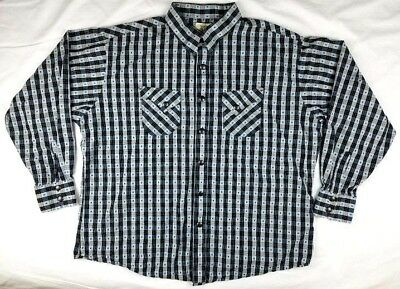 TWENTY 20X Wrangler Mens Blue Grey Plaid Western Metal Snaps Shirt Size XXL