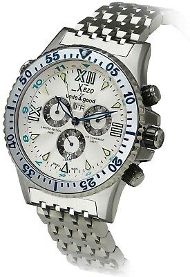 Xezo Men's Air Commando Quartz Luxury Chronograph 2nd Time Zone 856469005229