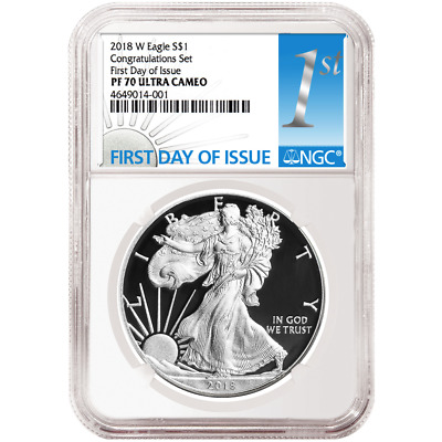 2018-W Proof $1 American Silver Eagle Congratulations Set NGC PF70UC FDI First L