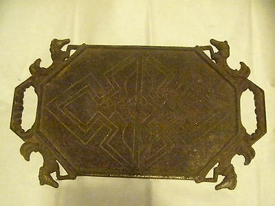 Antique Cast Iron Plant stand Top Wild horses Western Ornate Shelf project Tray