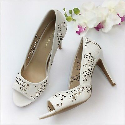 7654d1a802 Metaphor 'Pippa' Bone Colored Laser Cut Open Toe Heels Shoes Size 10M NWB