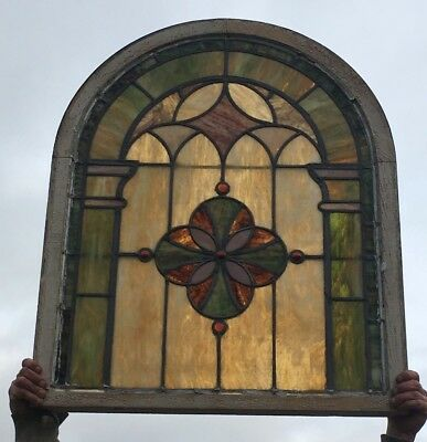 Antique Leaded Gothic Arched Top Slag Glass WIndow 37x30 Amber Jewels 07-18E