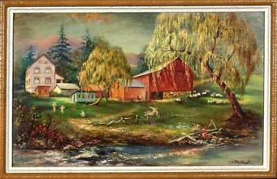 Superb ca.1965 Farm with Sheeps & Children by the Creek Oil Painting w/Frame