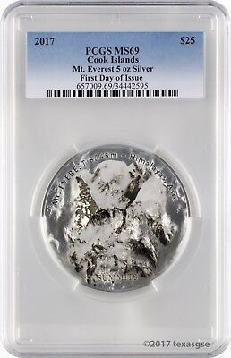 2017 $25 Cook Islands 7 Summits Everest 5oz .999 Silver Coin PCGSMS69 - FD